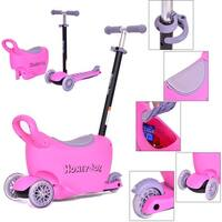 Costway Kids Scooter 3 In 1 Pink Kick Wheel Adjust Handle Bar w Storage Christmas Gift
