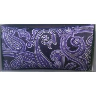 Men's Purple & Black Paisley Reversible Bow tie And Handkerchief Set - One size