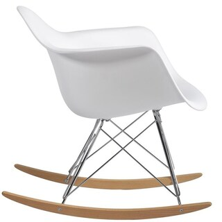 2xhome White Natural Wood Metal Wire Plastic Rocker Chair Rocking Lounge Bedroom Living Room With Arms Back Nursery Accent