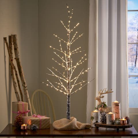 Naomi 4-foot Pre-Lit 228 Warm White LED Artificial Christmas Twig Tree by Christopher Knight Home