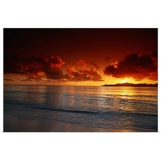 """""""Sunset at beach, view"""" Poster Print"""
