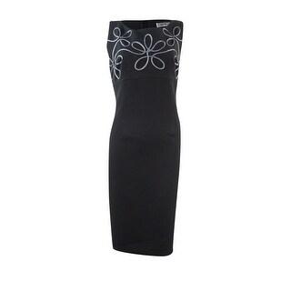 Kasper Women's Embellished Swirl Crepe Dress - Black