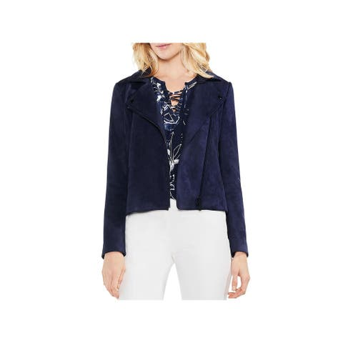 Vince Camuto Womens Motorcycle Jacket Faux Suede Short - Night Sky - L