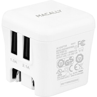 Macally HOME15U Macally 15W Two USB Port Wall Charger - 15 W Output Power - 5 V DC Output Voltage - 3.10 A Output Current