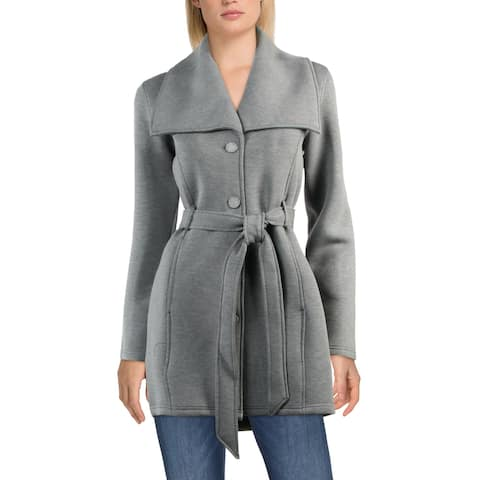 Steve Madden Women's Belted Scuba Double Face Button Down Winter Midi Coat