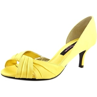 Nina Culver Peep-Toe Canvas Heels