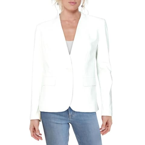 DKNY Womens One-Button Blazer Collarless Suit Separate - Sycamore
