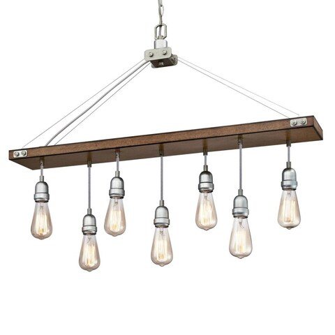"Westinghouse 6351500 Elway 7 Light 36"" Wide Linear Chandelier - barnwood / galvanized steel accents"