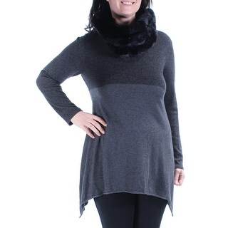 Womens Black Long Sleeve Scoop Neck Casual Top Size L