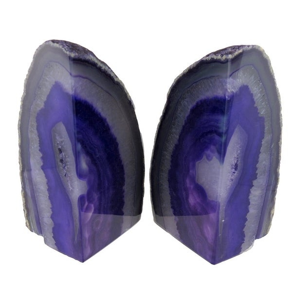 Polished Purple Brazilian Agate Geode Bookends 4-7 Pounds
