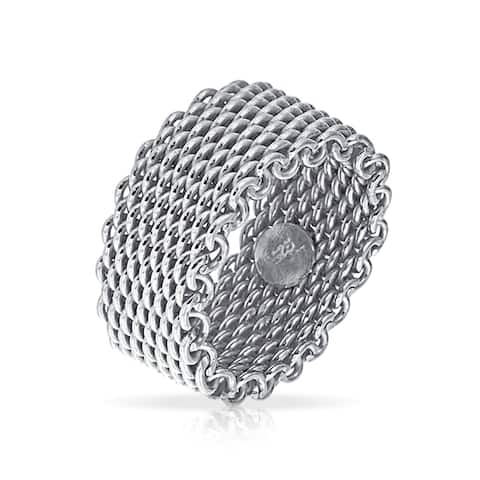 Wide Woven Mesh Band Ring For Men For Women Weave Braided 925 Sterling Silver
