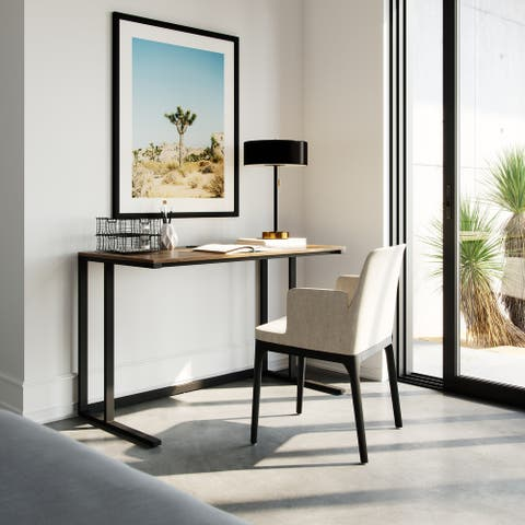 "Lucas 48"" Modern Industrial Large Home Office Writing Desk With Thick Wood Top, Black Metal Legs, And Cable Management"