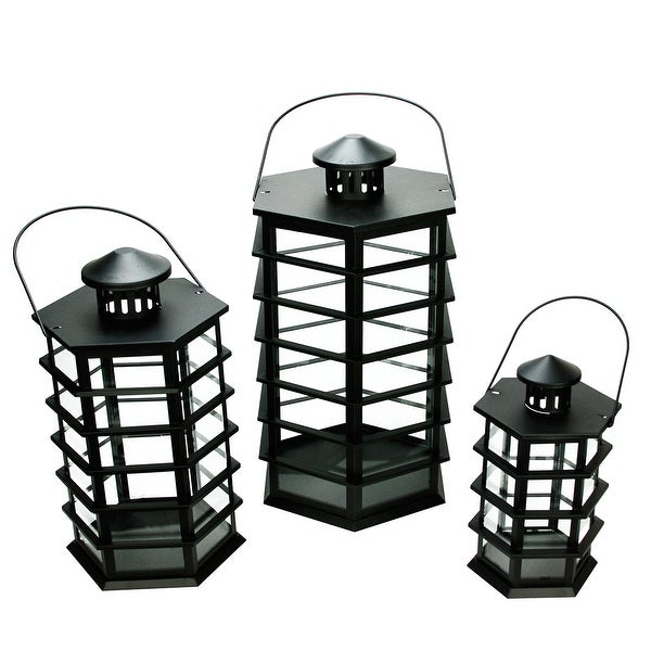 "Set of 3 Black Modern Design Glass Pillar Candle Lanterns 10.5"" - 18.5"""