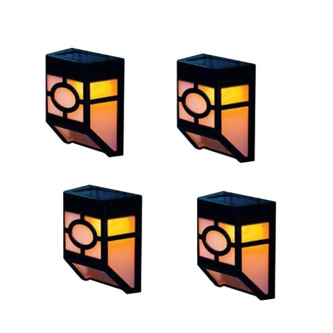 Kanstar Set of 4 Solar Powered Outdoor Landscape Warm Light for Garden Yard Fence
