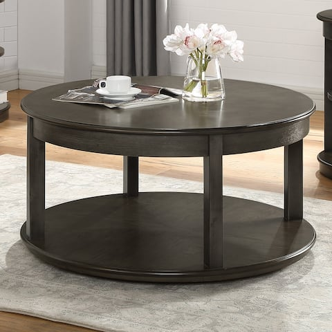 Furniture of America Marquess Transitional Gray Round Coffee Table