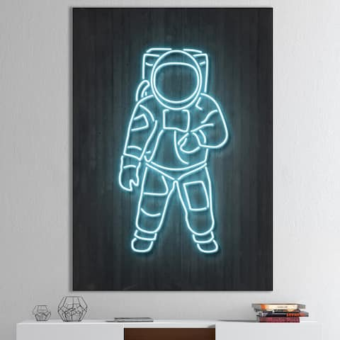 Designart 'Neon Astronaut' Modern & Contemporary Premium Canvas Wall Art