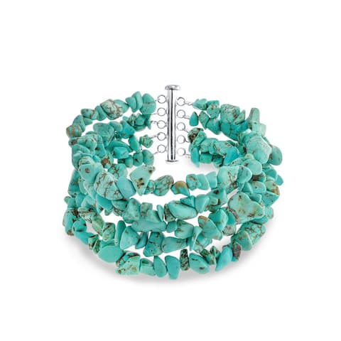 Blue Enhanced Turquoise Chips Multi 4 Strand Bracelet For Women 925 Sterling Silver Tube Clasp