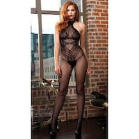 61d72db883ed9 High Neck Fishnet And Lace Bodystocking, Fishnet And Lace Bodystocking -  One Size Fits Most