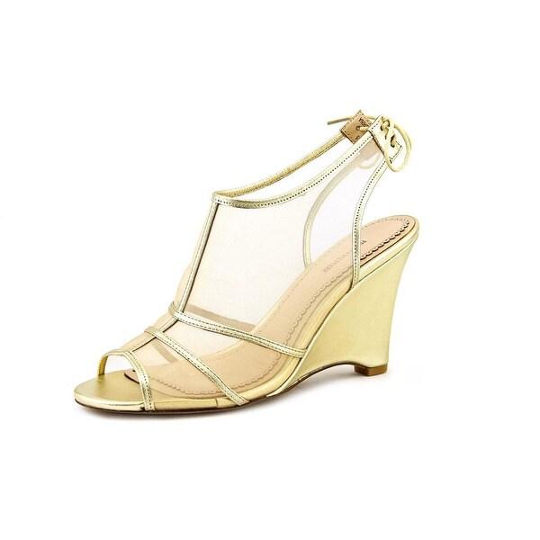 Pour La Victoire Bee Women Open Toe Synthetic Gold Wedge Sandal