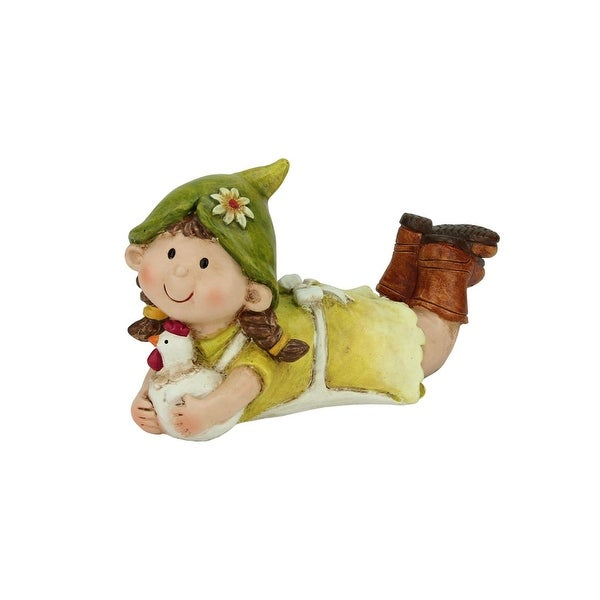 """8"""" Young Girl Gnome Lounging with Chicken Spring Outdoor Garden Patio Figure"""