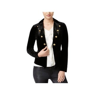 XOXO Womens Juniors Military Jacket Velvet Button Accents
