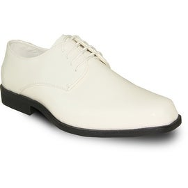 VANGELO Men Dress Shoe TUX-1 Oxford Formal Tuxedo for Prom & Wedding Shoe Ivory Patent -Wide Width Available