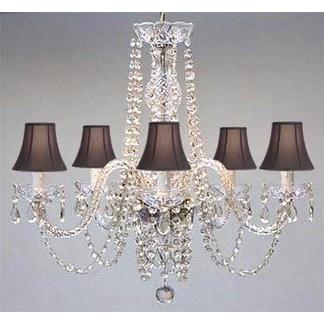 Swarovski Crystal Trimmed Authentic Chandelier Lighting & Black Shades