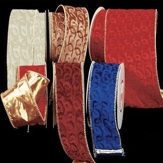 """Gold Backed Amber Velvet with Gold Pearl Edge Wired Craft Ribbon 3"""" x 20 Yards"""