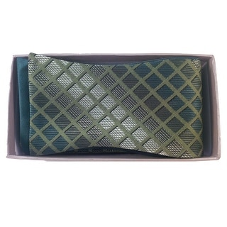 Men's Green Plaid Reversible Bow tie And Handkerchief Set - One size