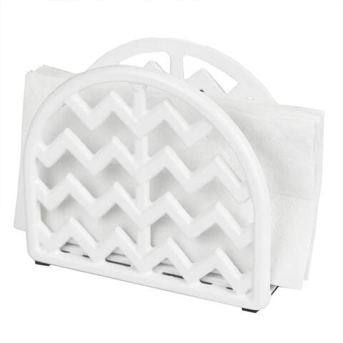 Home Basics Cast Iron Chevron Design Napkin Holder, White, 5.7x2x4.75 Inches