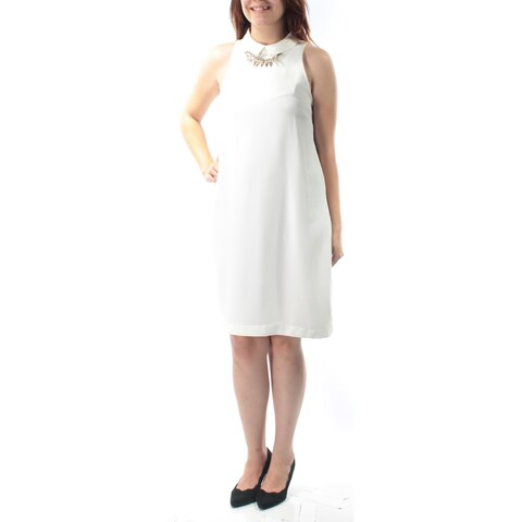 FRENCH CONNECTION Womens Ivory Beaded Sleeveless Collared Above The Knee Shift Evening Dress Size: 6