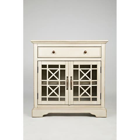 Craftsman Series 32 Inch Wooden Accent Cabinet with Fretwork Glass Front, Cream