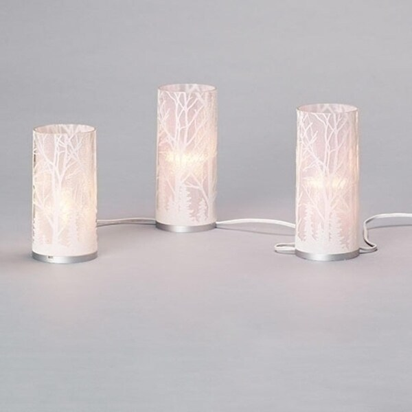 """5Pc White and Silver Enchanted Forest C7 Glass Lighted Mantle Candles 7.5""""- White Wire"""