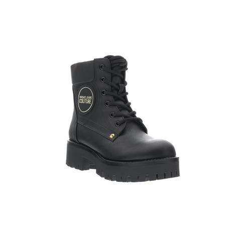 Versace Jeans Couture Black Leather Heel Lace Up Boots