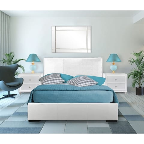 Hindes Faux Leather Upholstered Platform Bed and Nightstand Set