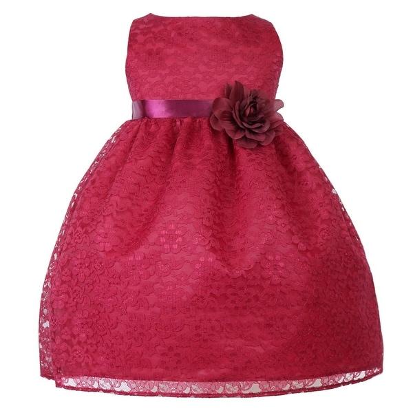 Baby Girls Burgundy Floral Lace Flower Girl Dress 6-24M