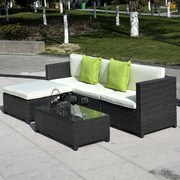 Shop Costway Outdoor Patio 5pc Furniture Sectional Pe Wicker Rattan Sofa Set Deck Couch Black Black Free Shipping Today Overstock 27304729