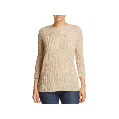 Design History Womens Pullover Sweater Lace-Up Back Perforated - Biscotti Heather