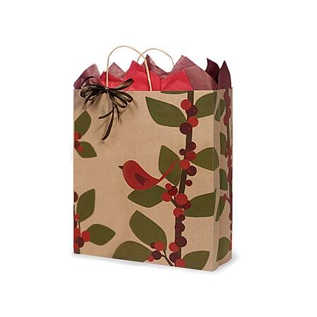 """Pack of 25, Queen Red Bird Berries 100% Recycle Paper Bags 16 X 6 X 19"""" For Christmas Packaging, Made In Usa."""