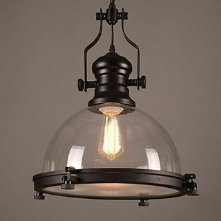 Vintage industrial black barn warehouse clear glass pendant light fixture