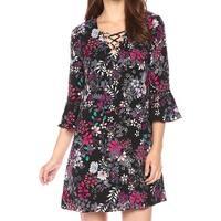 Jessica Simpson Black Women's Size 10 Floral Lace-Up A-Line Dress