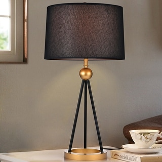 Kurita Black and Matte Gold with 2 Light Bulb Table Lamp