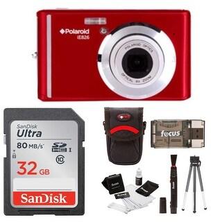 "Polaroid iE826 Digital Camera, 18MP 8x Optical Zoom w/ 2.4"" Display 32GB Bundle"