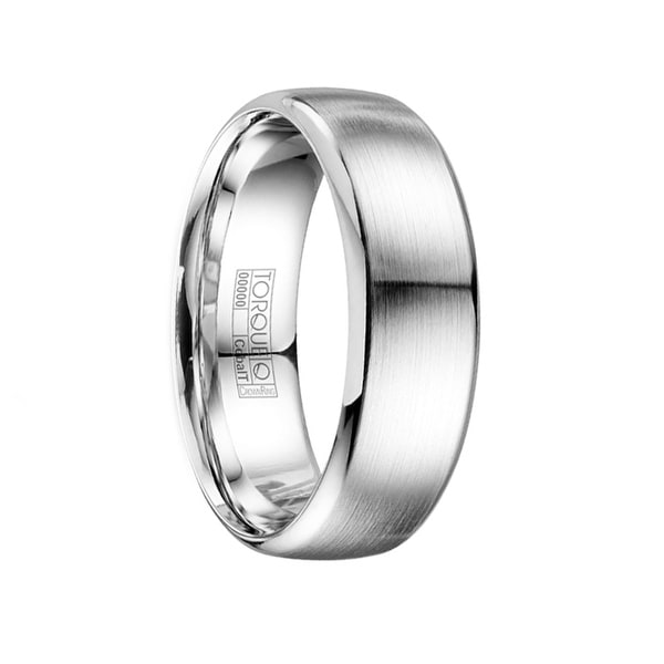 DONTAE Brushed Cobalt Men's Wedding Band with Polished Edges by Crown Ring - 7mm