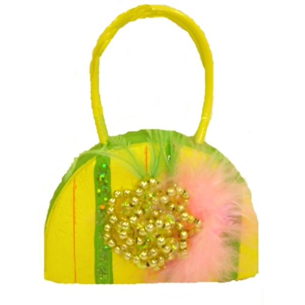 Yellow Beaded Princess Purse Christmas Ornament - green