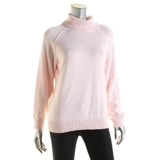 Karen Scott Womens Petites Cotton Long Sleeves Pullover Sweater - pxl
