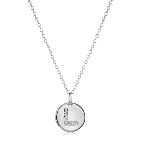 """L"" Initial Pendant with Diamonds in Sterling Silver, 18"""