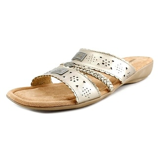 Minnetonka Gayle Women Open Toe Leather Gold Slides Sandal