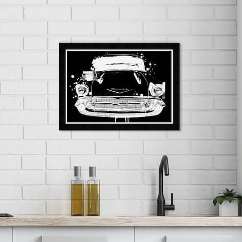 Wynwood Studio 'Vintage Car Noir' Transportation Wall Art Framed Print Automobiles - Black, White