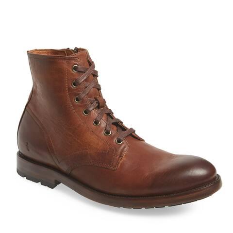 Frye Mens Bowery Lace Up Plain Toe Combat Boots 11.5 M Cognac